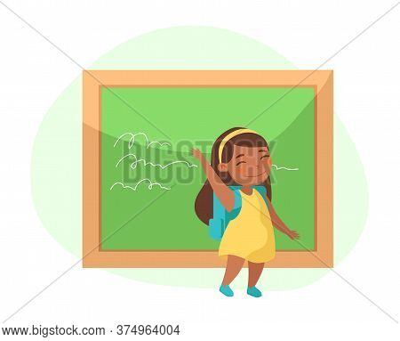 Little Girl Stand At Blackboard Waving Hand Greeting Classmates In Class. Back To School, Education,