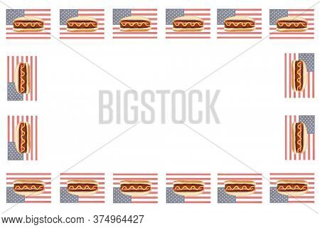 Picture Frame.  Blank Photo Frame or Menu with an American Flag and a Hot Dog with Mustard surrounding the edges. Room for Text or Images.