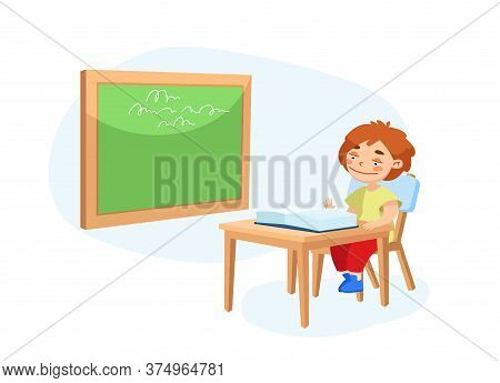 Little Schoolboy Character Sitting At Desk With Open Textbook In Front Of Blackboard With Lesson Wri