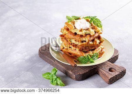 Zucchini Waffle, Zucchini Fritters Cooking On Waffle Maker, Vegetarian Zucchini Waffles With Basil O
