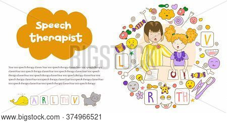 Concept Presentation Speech Therapy. School Speech Development. Cute Childrens Drawings Icons In Kav