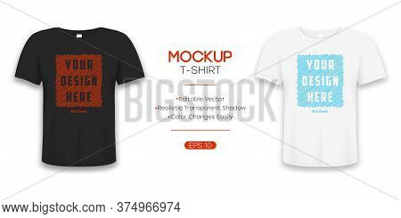 T-shirt Realistic Mockup In White And Black Color. 3d Template Of Tee Shirt With Short Sleeve. Basic