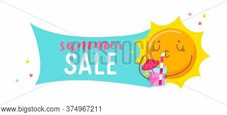 Summer Sale Banner With Cute Cartoon Sun Character Drinking Cocktail Isolated On White Background. K