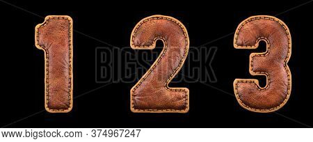 Set of numbers 1, 2, 3 made of leather. 3D render font with skin texture isolated on black background. 3d rendering