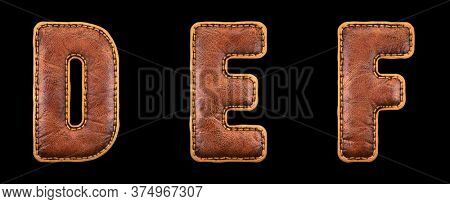 Set of leather letters D, E, F uppercase. 3D render font with skin texture isolated on black background. 3d rendering