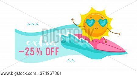 Extra Off Banner With Cute Cartoon Sun Character Wearing Heart Sunglasses Riding Surf Board. Summer