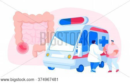 Doctor Character Stand At Ambulance Car Trying To Help Sick Man Touching Painful Stomach Suffering F