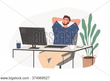 Relaxed Guy Sitting On Chair Feeling Satisfied From Work Productivity Vector Flat Illustration. Free