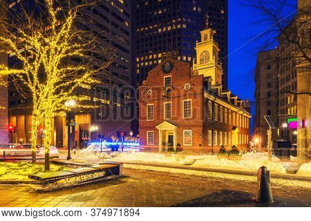 Boston Old state house at Christmas time