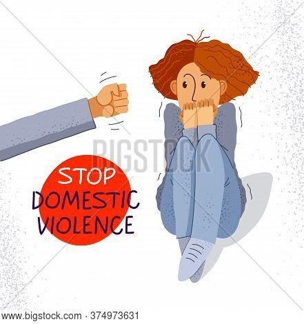 Domestic Violence Concept Vector, Clenched Fist Threats Scared Woman, Psychological Abuse, Bad Husba