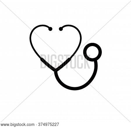 Cardiology Concept Vector Simple Icon Or Logo Isolated, Stereoscope In A Shape Of Heart Sign Isolate