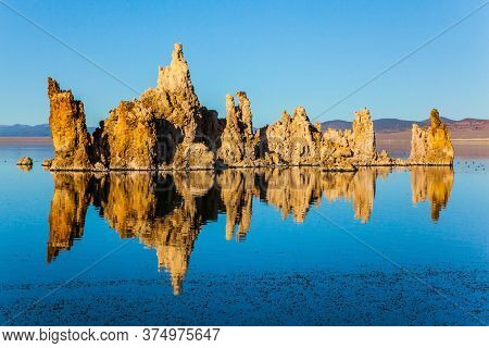 Picturesque Mono lake. California. Sunset. The columns - remains of