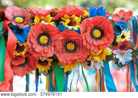 Artificial Flowers With Colorful Bands. Similar To Traditional Flowers With Bands In Ukraine