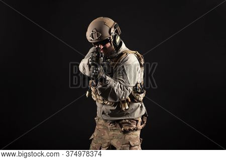 Portrait Of Special Forces In A Military Uniform With Weapons At Night, Elite Troops, Counter Terror