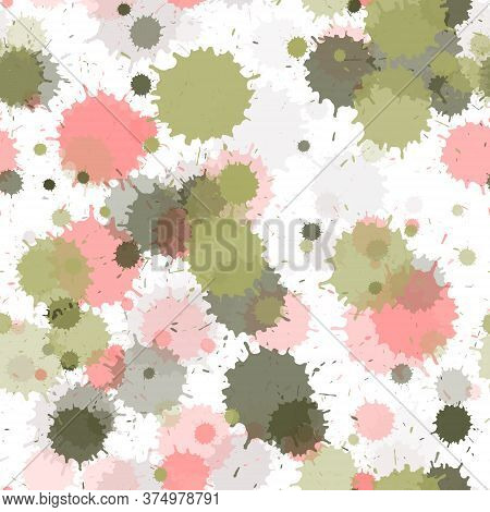 Paint Transparent Stains Vector Seamless Grunge Background. Vintage Ink Splatter, Spray Blots, Dirty