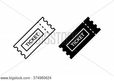 Ticket Icon. Vector Isolated Element. Line Raffle Ticket Symbol. Stock Vector.