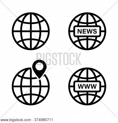 Globe Earth Icon. Vector Isolated Elements. Internet Globe Www Sign. Earth Global News Black Icon. S