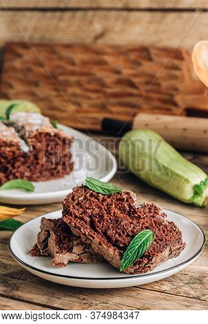 Vegan Crunchy Chocolate Zucchini Cake On Rustic Wooden. Healthy Gluten Free Food. Selective Focus. V