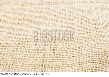 Texture Of Rustic Coarse Canvas Fabric, Close-up, Background