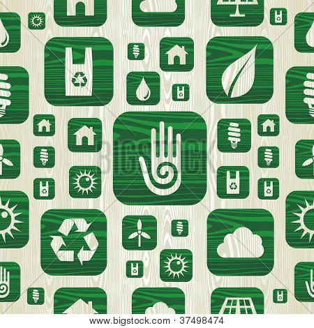 Environmental Green Icons Pattern In Organic Wood