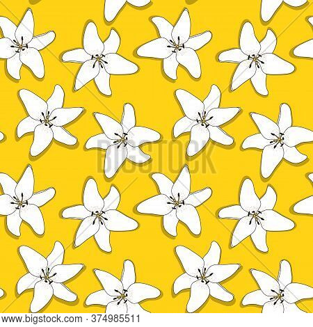 Abstract Hand Drawn Lilly Flower Seamless Pattern Background. Vector Illustration
