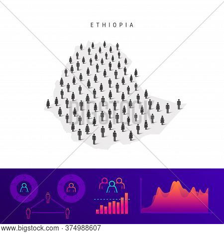 Ethiopia People Map. Detailed Vector Silhouette. Mixed Crowd Of Men And Women Icons. Population Info