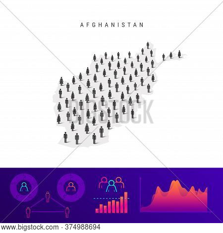 Afghanistan People Map. Detailed Vector Silhouette. Mixed Crowd Of Men And Women Icons. Population I