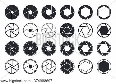 Camera Shutter Icons. Aperture And Lens For Focus. Photo Optics. Diaphragm, Objective, Zoom-snap Of