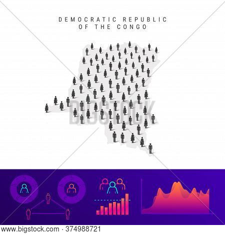 Democratic Republic Of The Congo People Map. Detailed Vector Silhouette. Mixed Crowd Of Men And Wome