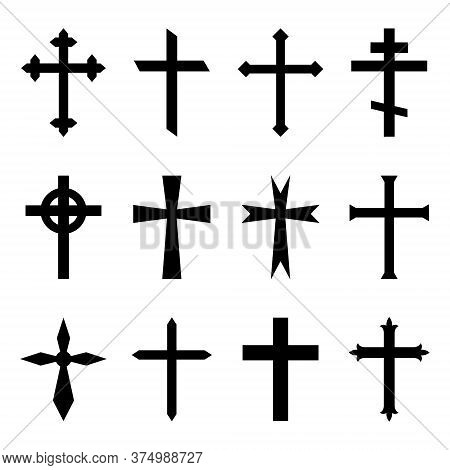 Christian Cross. Crucifix Icon. Black Catholic Symbol. Gothic Religious Silhouette For Church Of Jes