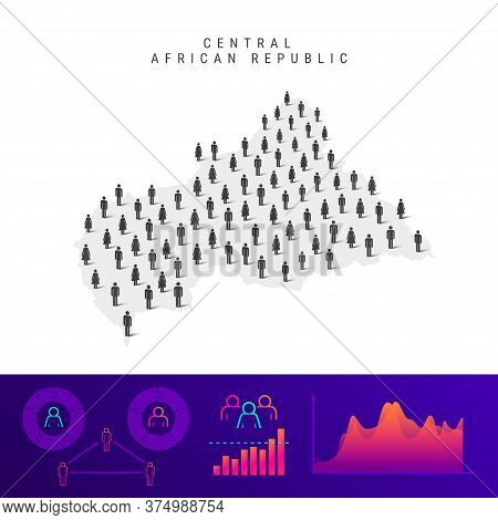 Central African Republic People Map. Detailed Vector Silhouette. Mixed Crowd Of Men And Women Icons.