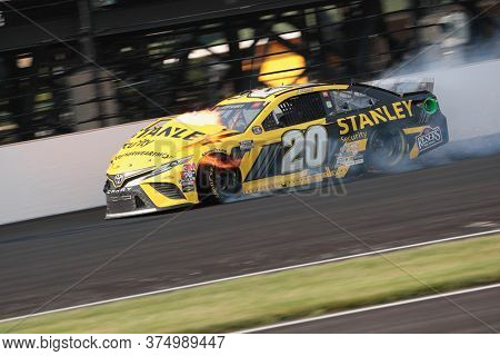July 05, 2020 - Indianapolis, Indiana, USA: Eric Jones (20) hits the wall during the Brickyard 400 race at the Indianapolis Motor Speedway in Indianapolis, Indiana.