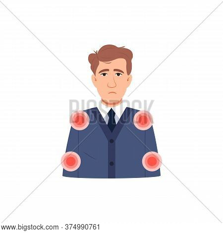 Young Sick Man Has Muscle Pain Symptom. Flat Character Icon Isolated On White. Infected Sick Person