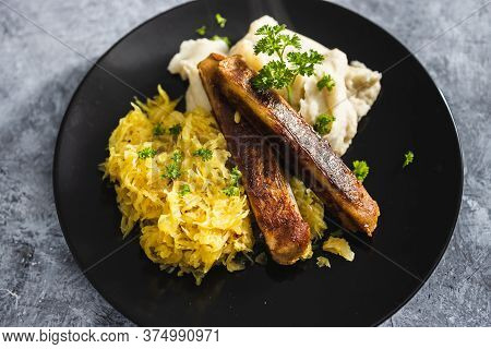 Plant-based Food, Vegan Sausages With Sauerkraut And Mash Potatoes