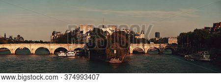 River Seine and historical architecture in ile de la cite in Paris, France.