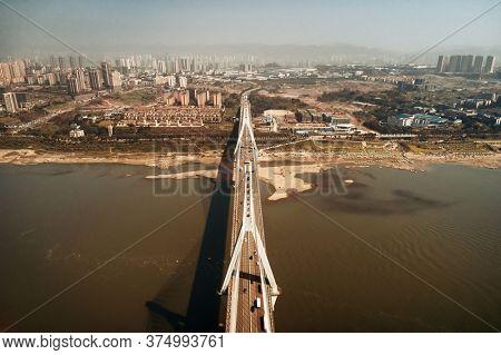 Masangxi Bridge and city urban architecture in Chongqing, China.