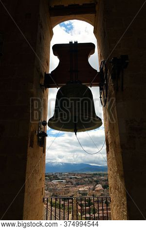 Bell tower of Cathedral of Segovia in Spain.