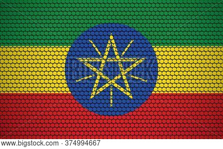 Abstract Flag Of Ethiopia Made Of Circles. Ethiopian Flag Designed With Colored Dots Giving It A Mod