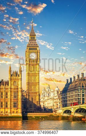 Big Ben and westminster bridge in London at morning