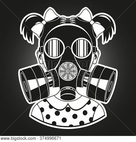Little Girl With Gas Mask. Monochrome Vector Illustration.