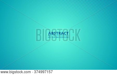 Abstract Halftone Gradient Green Teal Mint Blue Background. Cartoon Style Turquoise Green Blurred Wa