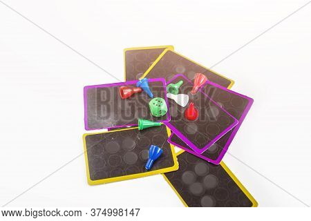 Various Board Games For Children And Adults: Chips Dice, Cubes And Cards. Family And Friendly Pastim