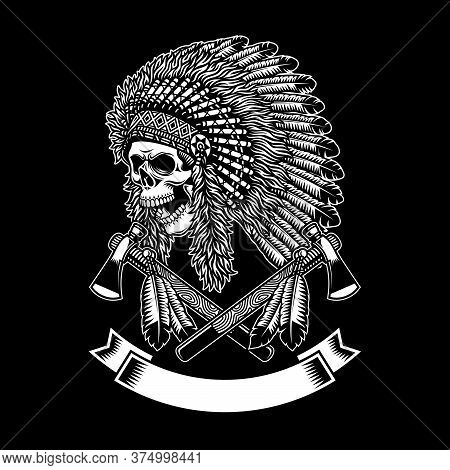 American Indian Chief Skull With Crossed Tomahawks On Black Background