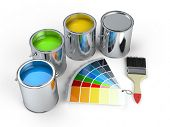 Paint cans with brush and Pantone color guide poster