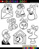 Coloring Book or Page Cartoon Illustration of Funny Dogs and Puppies for Children poster