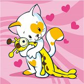 cute kitty illustration holding giraffe toy on pink background with hearts poster