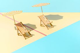 Beach With Sunbeds And Umbrellas Time After Coronavirus Pandemic. Two Sun Loungers With Umbrellas, S