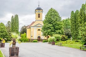 View At The Church Of Exaltation Of St.cross In The Streets Of Bardejovske Kupele Town - Slovakia