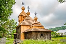 View At The Wooden Church Of Protection Of The Blessed Virgin In Jedlinka - Slovakia