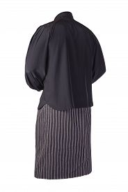 Womens Long Black White Striped Skirt And Black Blouse Isolated On White Background.comfortable Clot